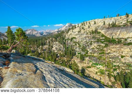 Panorama Of Olmsted Point, Off Tioga Pass Road In Yosemite National Park, California, United States.