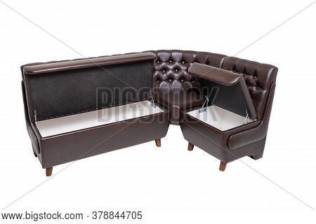 Single Brown Leather Office Sofa With Opened Hidden Wooden Containers Inside Isolated On White Backg