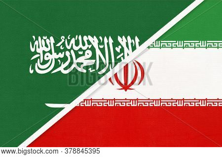 Saudi Arabia And Iran Or Persia, Symbol Of National Flags From Textile. Relationship, Partnership An