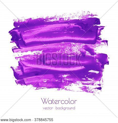 Violet, Purple, Lilac Grunge Marble Vector Watercolor Dry Brush Strokes Texture Hand Paint On White