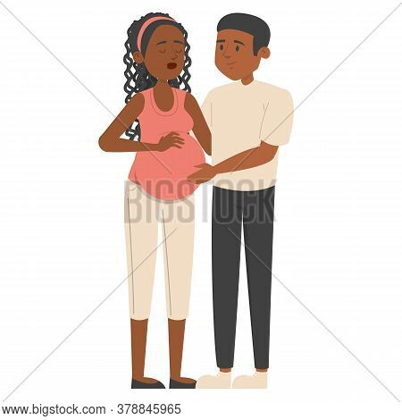 Pregnant Woman With Husband Vector Isolated. Happy Couple