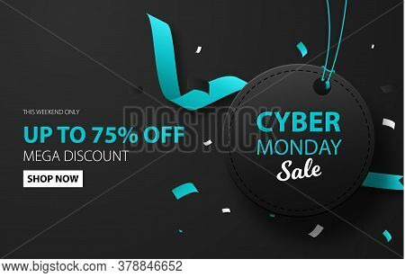 Cyber Monday Sale Discount Background For Commercial Advertising. Black Label With Confetti. Brochur