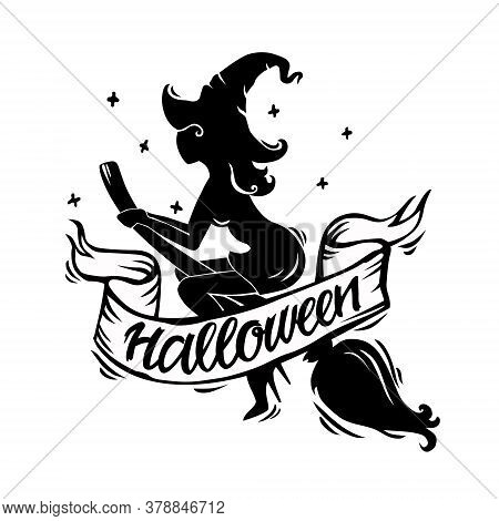 Vector Illustration Of A Halloween Silhouette Of An Evil Witch With A Hat On A Broom. Feed With Text