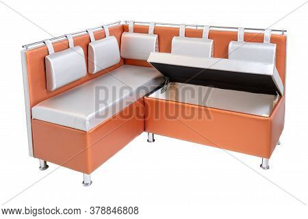Orange Leather Office Sofa With Cushions, Opened Hidden Wooden Container Inside And Metal Chrome Leg