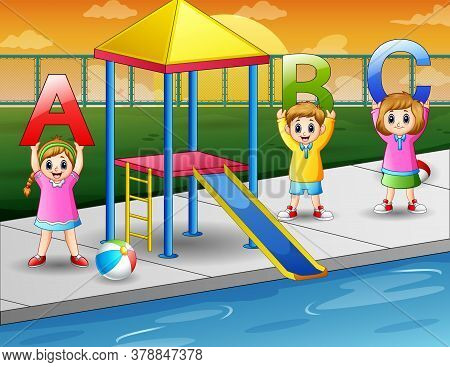 Happy Kids Holding Abc Letter In The Pool