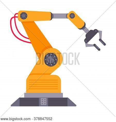 Robotic Arm Flat Style Design Vector Illustration Isolated On White Background. Robot Arm Or Hand. I