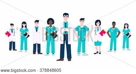 Successful Doctors Team Of Medical Employee Vector Illustration Isolated On White Background. Hospit