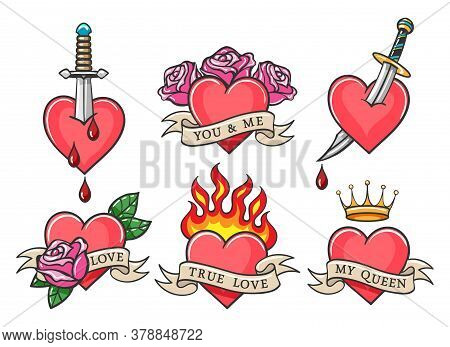 Traditional Heart Tattoo Set With Love Theme Inscriptions. Oldschool Heart Tattoos With Daggers, Ros