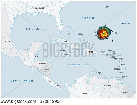 Schematic Vector Map Of A Fictional Hurricane In North And Central America