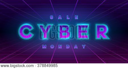 Cyber Monday Sale Retrowave Style Banner. Neon Tech Cyber Monday Inscription On Laser Perspective Gr