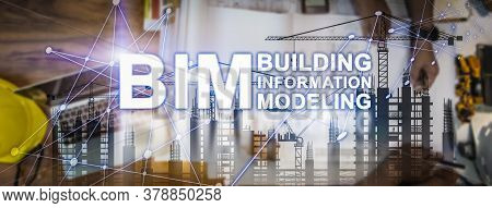 Bim Technology Banner. Double Exposure Of Designer Meeting And Discussion About Project Startup, Bui