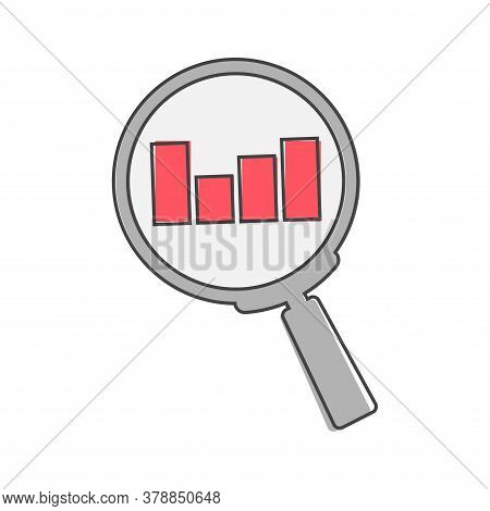 Search Vector Icon Glass Magnifier. Business Schedule Of Income And Expenses Cartoon Style On White