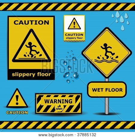 vector sign caution slippery floor wet flor warning collection