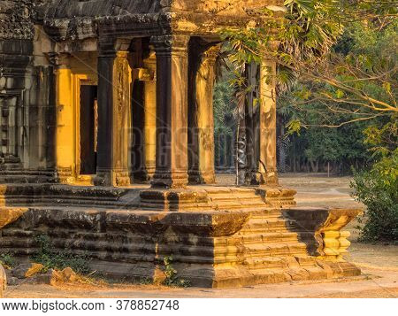 South Library Of Angkor Wat Lit By The Setting Sun  - Siem Reap, Cambodia