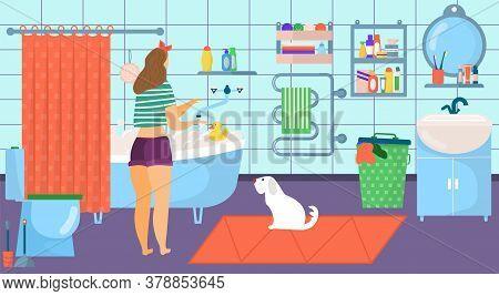 Girl Bathroom Interior, Cartoon Woman Bath At Home Vector Illustration. Character Care About Hygiene