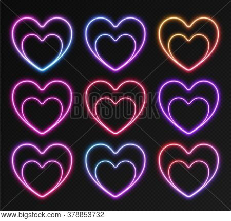 Neon Gradient Frames Set, Collection Of Colorful Glowing Hearts. Vivid Night Banners, Bright Illumin