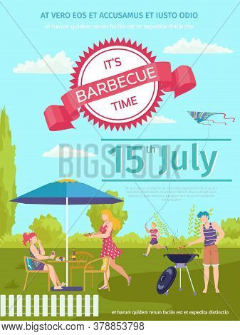 Barbecue Food Outdoor, Bbq Poster Vector Illustration. Cartoon Party Invitation Design, Cooking Meat