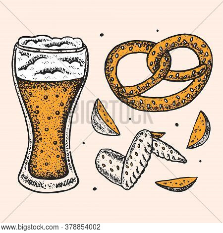 Glass Of Craft Beer, Fried Potato, Chicken Wing, Pretzel. Oktoberfest Clip Art, Set Of Elements. Alc