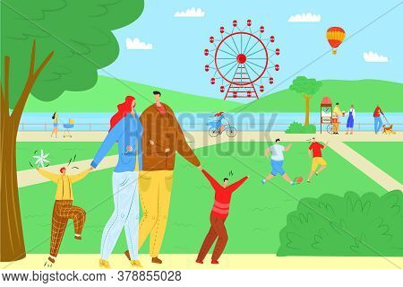 Cartoon People In Park With Ferris Wheel, Vector Illustration. Family Leisure With Happy Child, Ente