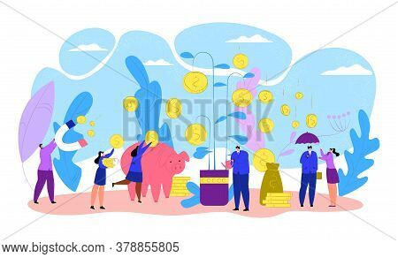 Business People With Finance Money Tree, Coin Investment Vector Illustration. Success Banking Plant