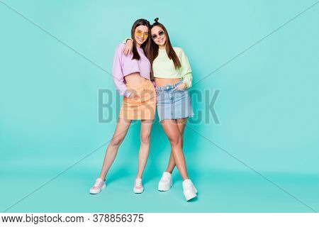 Full Body Photo Of Cool Two Pretty Lady Girlfriends Cool Youth Look Clothes Hugging Good Mood Wear S