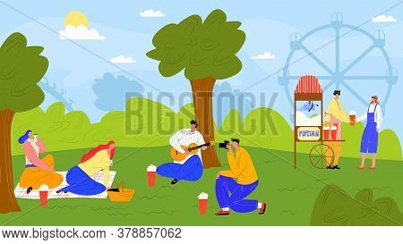 Leisure At Outdoor Nature, People Character In Park Vector Illustration. Woman Man Person In Summer