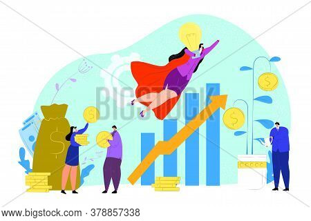 Money Graph Idea For Investor And Sponsor Concept, Vector Illustration. Success Startup Investment,
