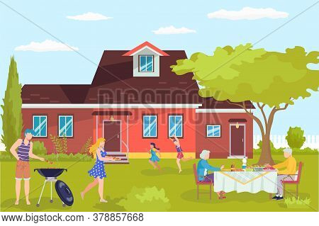 Barbecue At Flat Home, Cartoon Bbq Character Vector Illustration. Cooking At Outdoor House Yard, Fam