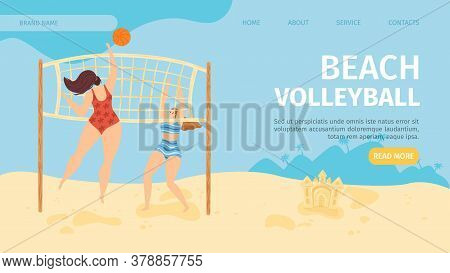 Beach Flat Sport Banner, Vector Illustration. People Cartoon Character Play Volleyball, Girl Lifesty