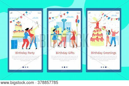 Celebrate Cartoon Banner, People Flat Greeting At Birthday Party Set Vector Illustration. Holiday Ce