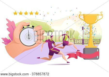 Sportsman Run And Stopwatch For Fitness Exercise, Vector Illustration. Healthy People At Competition