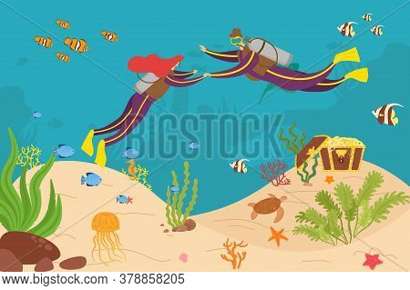 Diver Couple Diving Adventure At Sea, Vector Illustration. Man Woman Character Cartoon Recreation In