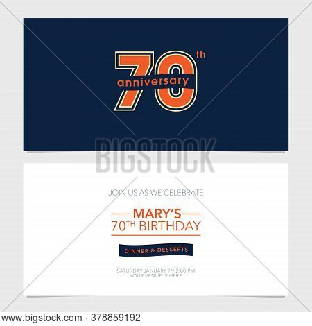 70 Years Anniversary Party Invitation Vector Template. Illustration With Graphic Number