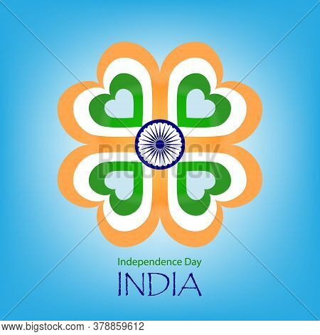 Indian Independence Day Poster. Banner With Flower From Of Hearts In Colors Indian Flag And Ashoka W