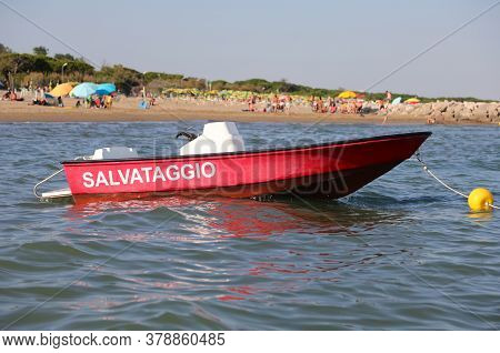 Red Motorboat With The Text Salvataggio That Means Rescue In Italian Language To The Rescue Of Bathe