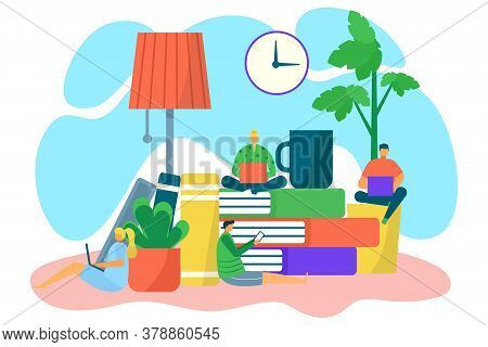 Book Education, Flat Study Online Concept, Vector Illustration. Student Character At Library, Digita