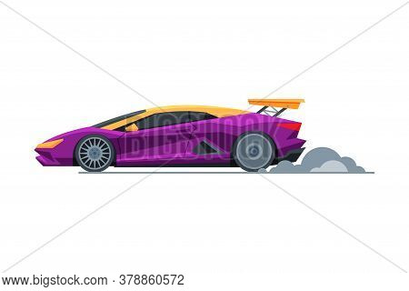 Purple Sport Racing Car, Side View, Fast Motor Racing Bolid Vector Illustration