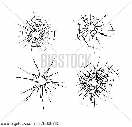 Broken Glass. Set Of Cracked Glass Surface Silhouette. Broken Window Or Mirror After Bullet. Vector