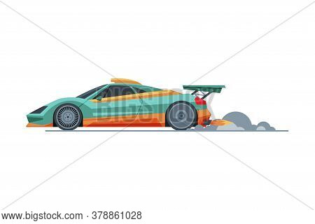 Sport Racing Car, Side View, Fast Motor Racing Vehicle With Turbo Engine Vector Illustration