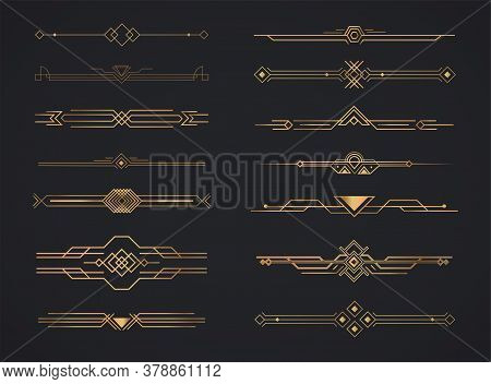 Art deco golden headers. Set of Art deco calligraphic page decoration vignettes. Vector design golden art deco border template.