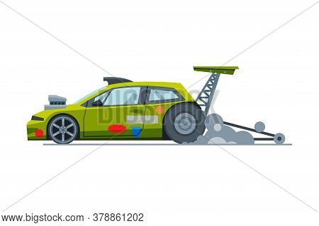 Sport Racing Car, Side View, Fast Motor Racing Green Vehicle Vector Illustration