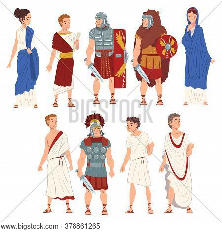 Roman People In Traditional Clothes Collection, Ancient Rome Citizens And Legionnaires Characters Ve