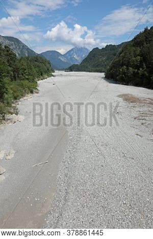 Wide Bed Of The Tagliamento River In Northern Italy Without Water During The Drought And Also Due To