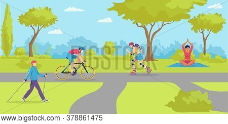 Park Outdoor Sport, Cartoon Healthy People In City Vector Illustration. Flat Summer Lifestyle At Nat