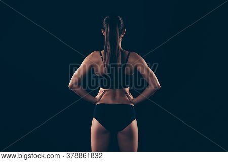 Rear Back Behind View Portrait Of Her She Nice Attractive Content Sportive Strong Muscular Lady Perf