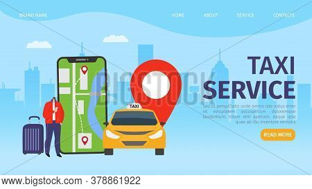 Car At Taxi Flat Mobile Online Service In Smartphone, Transport City Location Vector Illustration. A