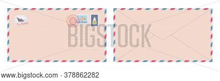 Dear Santa Claus Letter In Envelope. Christmas Letter For Santa. Blank Postcard. Flat Vector Illustr