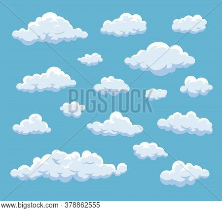 Cartoon Clouds Set. Vector Cloud Isolated On Blue Sky. Collection Of Clouds For Web Site, Poster, Pl