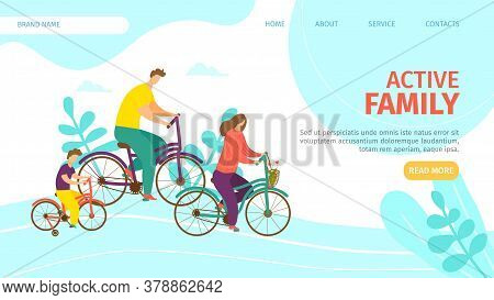 Active Family Landing Vector Illustration. Parents With Their Child Travel On Bicycles. Summer Outdo