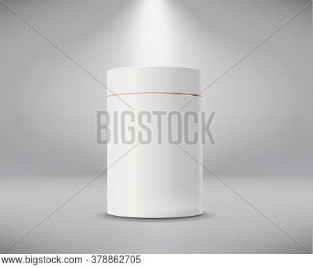 White Cylinder Box. Round Empty Paper Box For Food Soup Tea Or Coffee. Vector Mockup Of White Blank